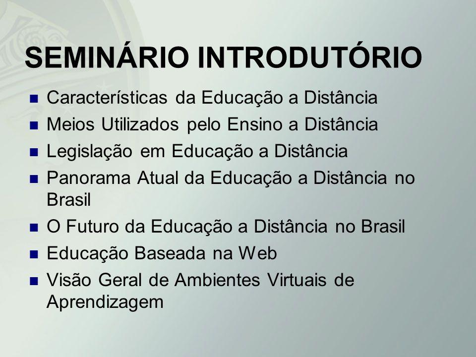 SEMINÁRIO INTRODUTÓRIO Características da Educação a Distância Meios Utilizados pelo Ensino a Distância Legislação em Educação a Distância Panorama At