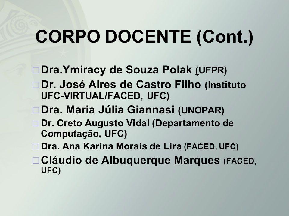 CORPO DOCENTE (Cont.) Dra.Ymiracy de Souza Polak (UFPR) Dr. José Aires de Castro Filho (Instituto UFC-VIRTUAL/FACED, UFC) Dra. Maria Júlia Giannasi (U