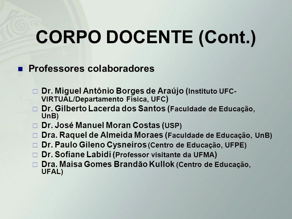 CORPO DOCENTE (Cont.) Professores colaboradores Dr. Miguel Antônio Borges de Araújo ( Instituto UFC- VIRTUAL/Departamento Física, UFC ) Dr. Gilberto L