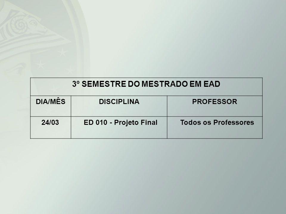 3º SEMESTRE DO MESTRADO EM EAD DIA/MÊSDISCIPLINAPROFESSOR 24/03 ED 010 - Projeto Final Todos os Professores