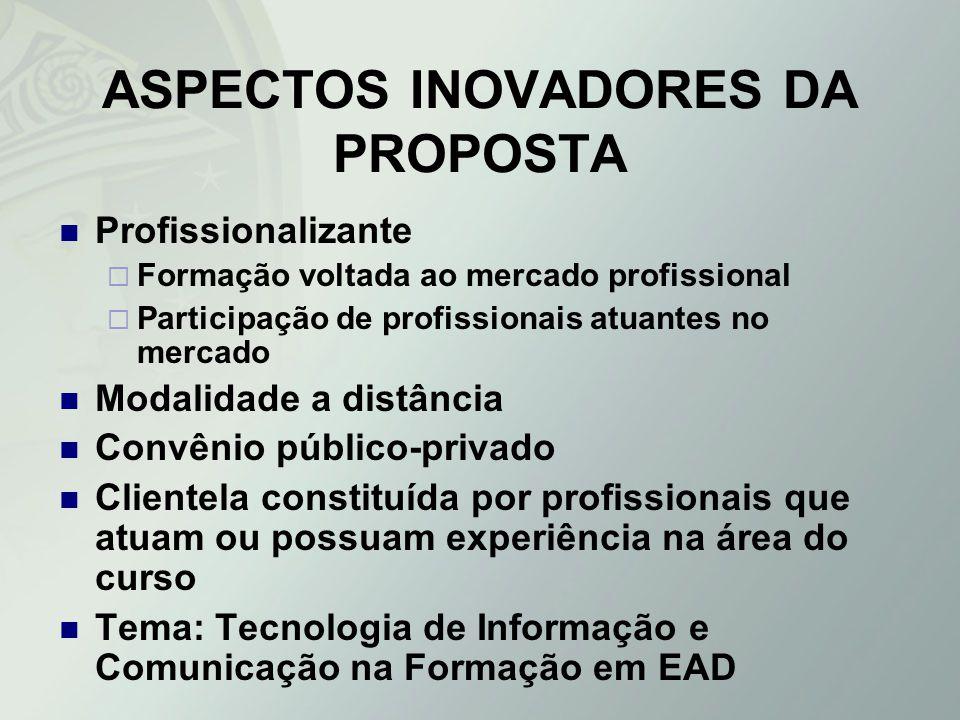 ASPECTOS INOVADORES DA PROPOSTA Profissionalizante Formação voltada ao mercado profissional Participação de profissionais atuantes no mercado Modalida