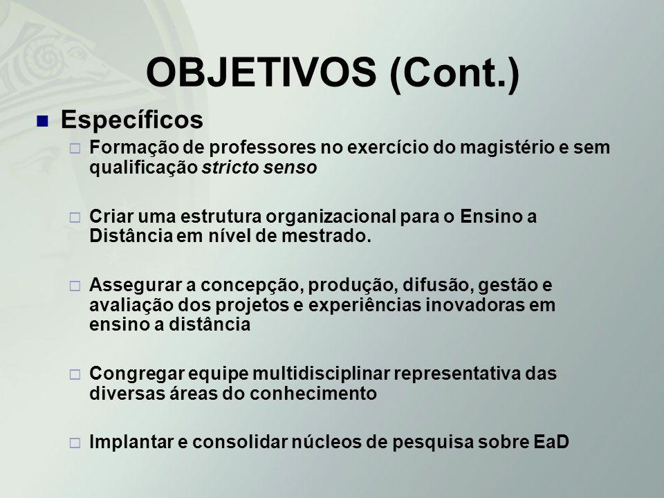 OBJETIVOS (Cont.) Específicos Formação de professores no exercício do magistério e sem qualificação stricto senso Criar uma estrutura organizacional p