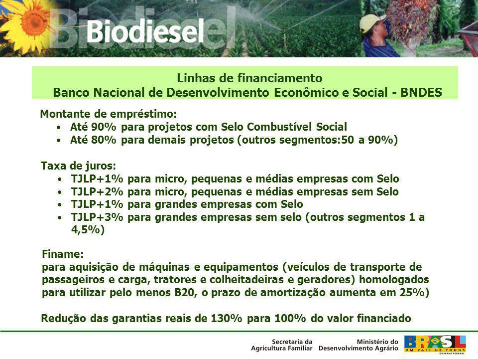 Linhas de financiamento Banco Nacional de Desenvolvimento Econômico e Social - BNDES Montante de empréstimo: Até 90% para projetos com Selo Combustíve