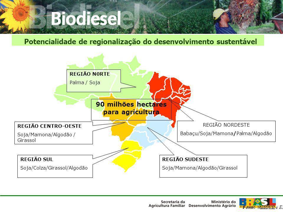 Potencialidade de regionalização do desenvolvimento sustentável Fonte: ABIOVE e EMBRAPA REGIÃO NORDESTE Babaçu/Soja/Mamona/Palma/Algodão REGIÃO SUDEST