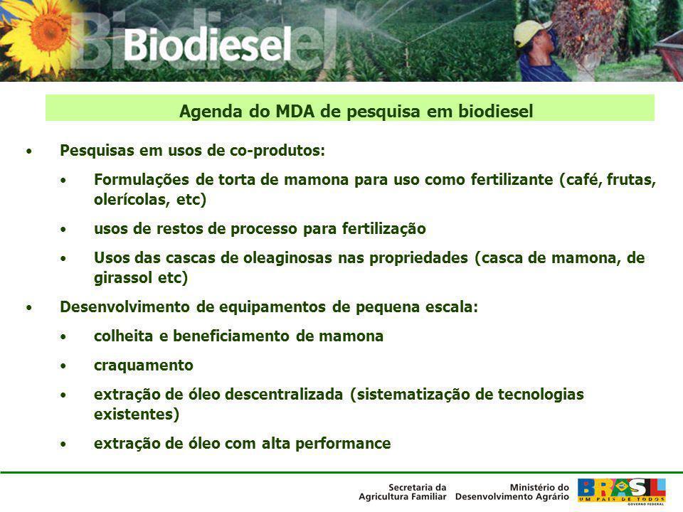 Pesquisas em usos de co-produtos: Formulações de torta de mamona para uso como fertilizante (café, frutas, olerícolas, etc) usos de restos de processo