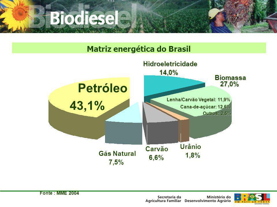 Carvão 6,6% Gás Natural 7,5% Petróleo 43,1% Biomassa 27,0% Urânio 1,8%Hidroeletricidade14,0% MME 2004 Fonte : MME 2004 Lenha/Carvão Vegetal: 11,9% Can
