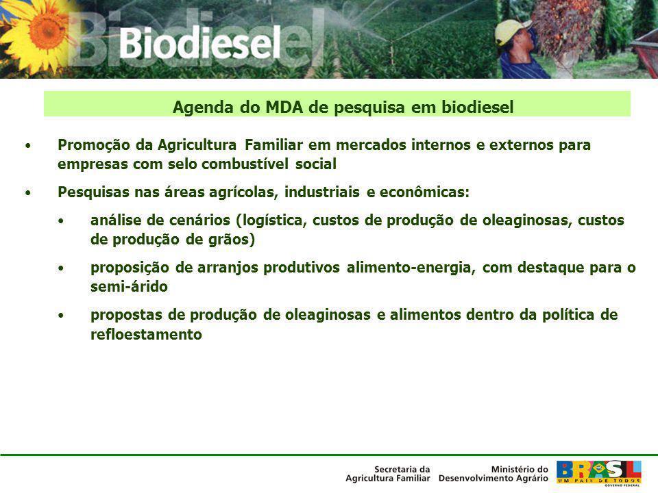 Promoção da Agricultura Familiar em mercados internos e externos para empresas com selo combustível social Pesquisas nas áreas agrícolas, industriais