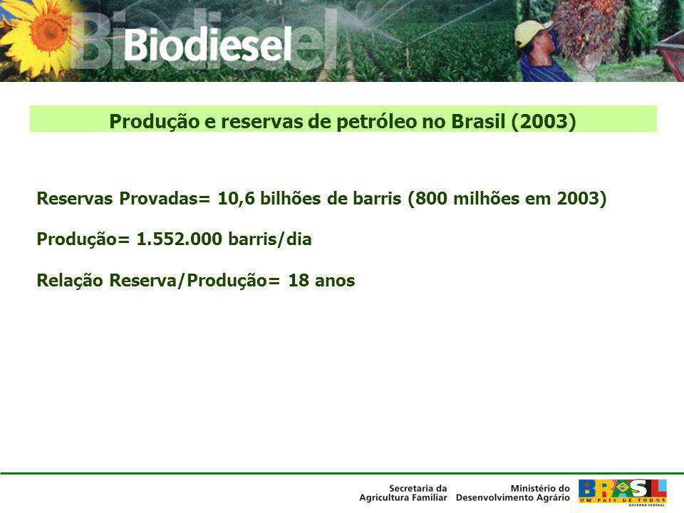 Produção e reservas de petróleo no Brasil (2003) Reservas Provadas= 10,6 bilhões de barris (800 milhões em 2003) Produção= 1.552.000 barris/dia Relaçã
