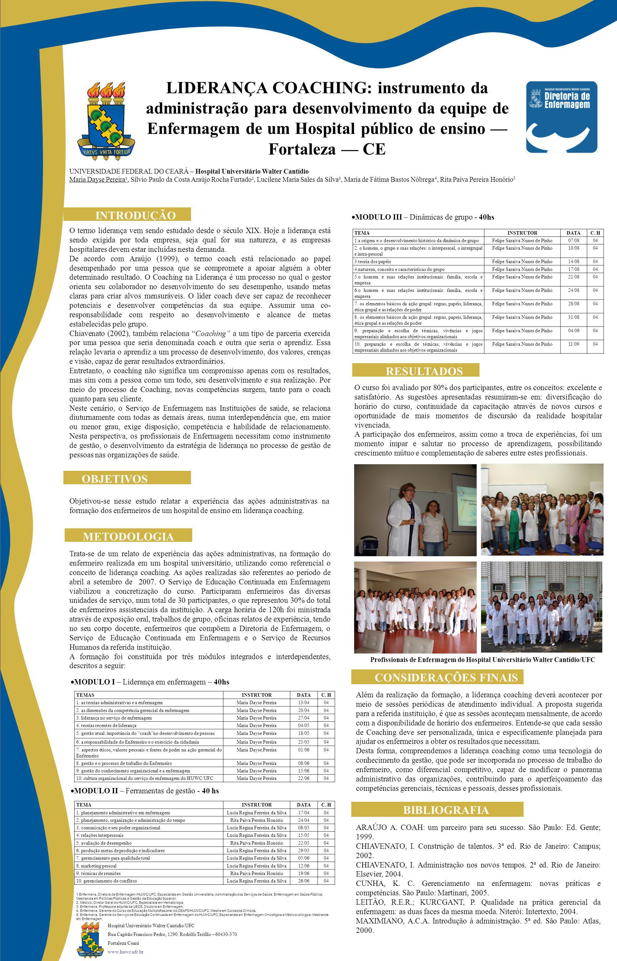 LIDERANÇA COACHING: instrumento da administração para desenvolvimento da equipe de Enfermagem de um Hospital público de ensino Fortaleza CE INTRODUÇÃO OBJETIVOS O termo liderança vem sendo estudado desde o século XIX.