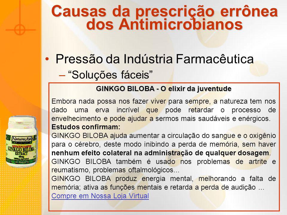 Causas da prescrição errônea dos Antimicrobianos Pressão da Indústria Farmacêutica –Soluções fáceis GINKGO BILOBA - O elixir da juventude Embora nada
