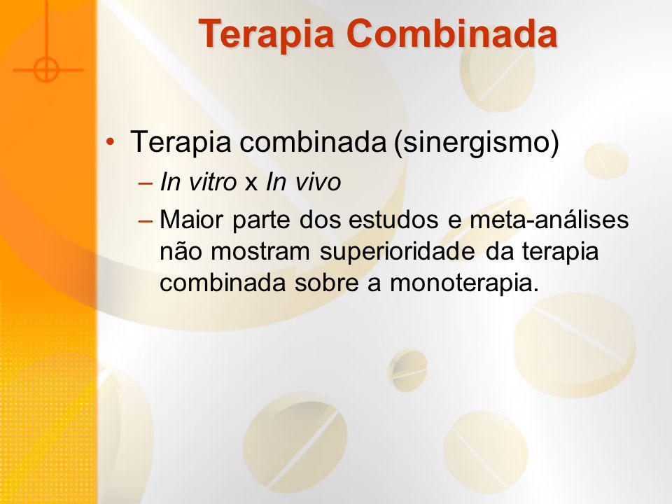 Terapia Combinada Terapia combinada (sinergismo) –In vitro x In vivo –Maior parte dos estudos e meta-análises não mostram superioridade da terapia com