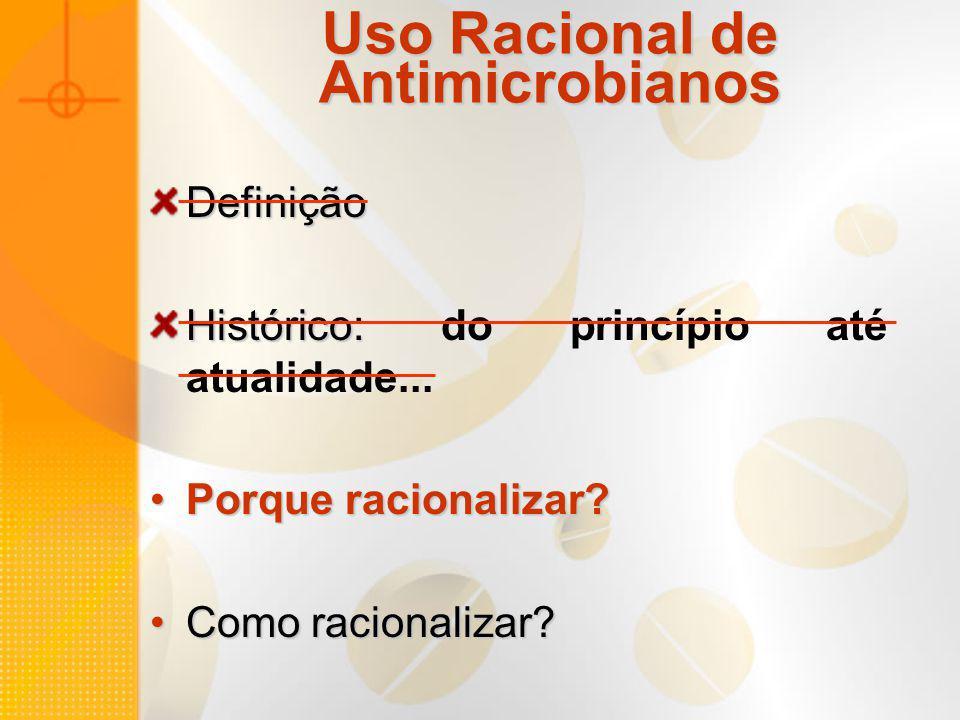 Uso Racional de Antimicrobianos Definição Histórico: Histórico: do princípio até atualidade... Porque racionalizar?Porque racionalizar? Como racionali