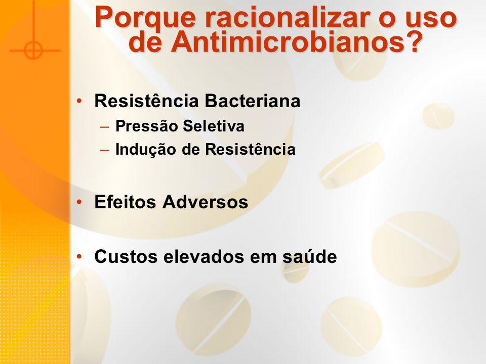 Porque racionalizar o uso de Antimicrobianos? Resistência Bacteriana –Pressão Seletiva –Indução de Resistência Efeitos Adversos Custos elevados em saú