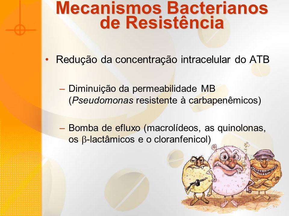 Mecanismos Bacterianos de Resistência Redução da concentração intracelular do ATB –Diminuição da permeabilidade MB (Pseudomonas resistente à carbapenê