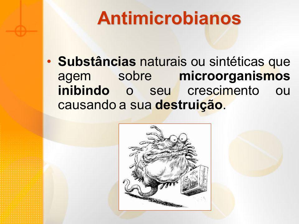 Antimicrobianos Antibióticos Penicilinas Cefalosporinas Aminoglicosídeos Tetraciclinas Macrolídeos Sulfonamidas Quinolonas Rifamicinas Glicopeptídeos Clindamicina Metronidazol Cloranfenicol Carbapenêmicos Monobactamicos Inibidores de Betalactamase Linezolida Streptograminas Polimixina...