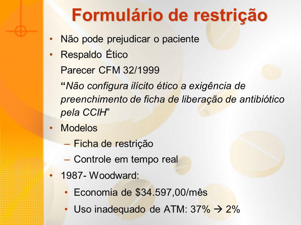 Formulário de restrição Não pode prejudicar o paciente Respaldo Ético Parecer CFM 32/1999 Não configura ilícito ético a exigência de preenchimento de