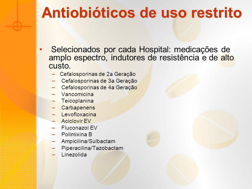 Antiobióticos de uso restrito Selecionados por cada Hospital: medicações de amplo espectro, indutores de resistência e de alto custo. –Cefalosporinas