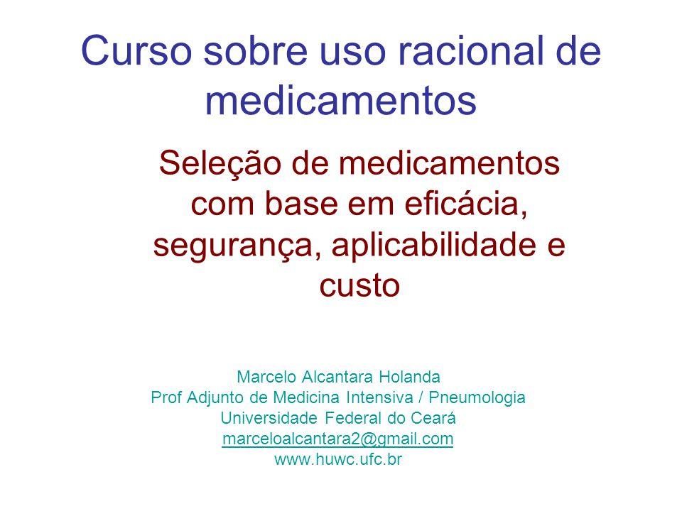 O uso racional de medicamentos consiste em oferecer ao paciente a medicação adequada a suas necessidades clínicas, nas doses correspondentes, por tempo adequado e ao menor custo possível para si e para a comunidade.