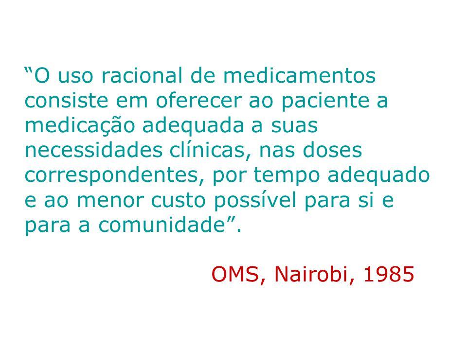 O problema do uso Irracional de medicamentos Cerca de 50% de todos os medicamentos são: –Prescritos –Dispensados –Vendidos de forma inadequada.