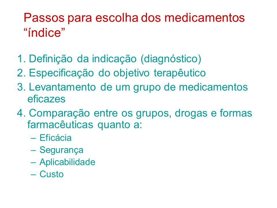 Passos para escolha dos medicamentos índice 1.