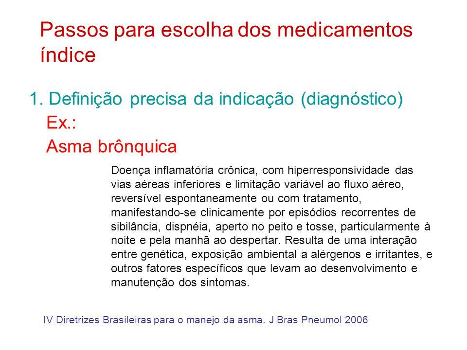 Dispositivos inalatórios para tratamento da asma Inaladores de pó são mais fáceis/eficientes do que aerosol dosimetrado – bombinha – exceto se uso de espaçadores IV Diretrizes Brasileiras para o manejo da asma.