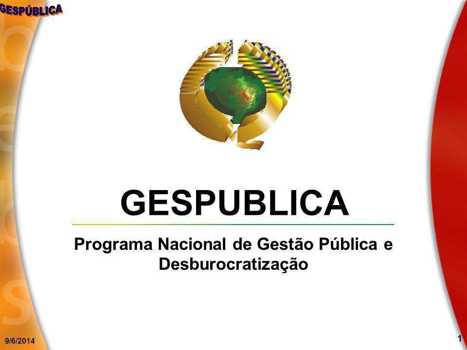 9/6/2014 1 GESPUBLICA Programa Nacional de Gestão Pública e Desburocratização