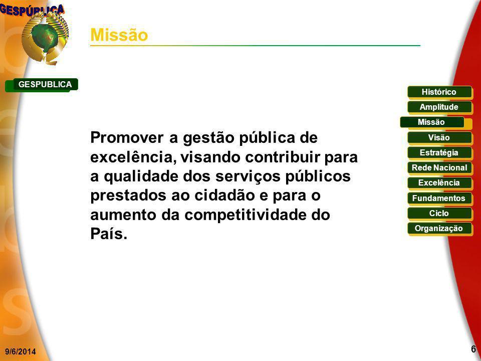 9/6/2014 6 Missão Promover a gestão pública de excelência, visando contribuir para a qualidade dos serviços públicos prestados ao cidadão e para o aum