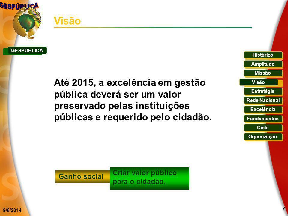 9/6/2014 7 Visão Até 2015, a excelência em gestão pública deverá ser um valor preservado pelas instituições públicas e requerido pelo cidadão. Ganho s