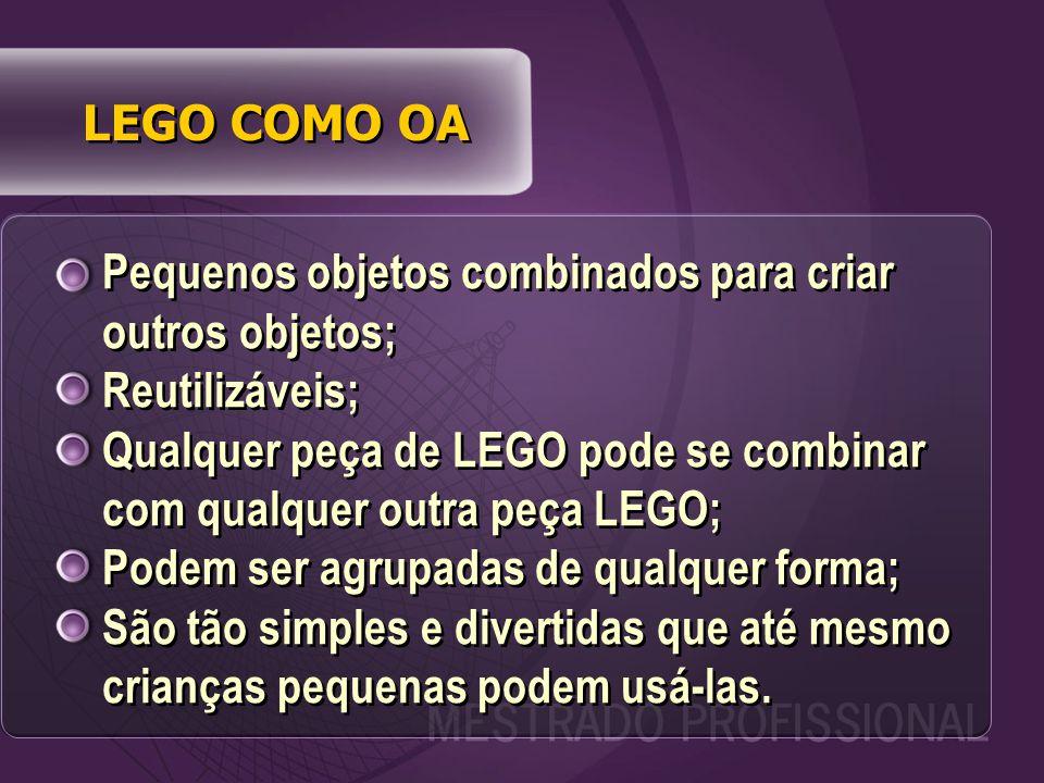 LEGO COMO OA Pequenos objetos combinados para criar outros objetos; Reutilizáveis; Qualquer peça de LEGO pode se combinar com qualquer outra peça LEGO; Podem ser agrupadas de qualquer forma; São tão simples e divertidas que até mesmo crianças pequenas podem usá-las.