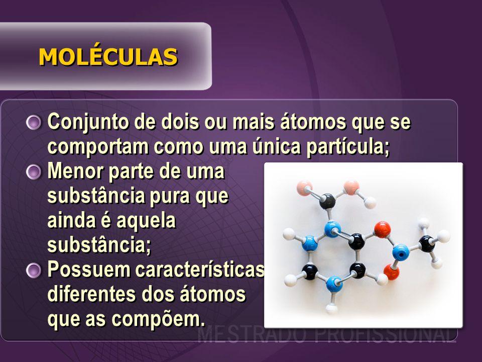 Conjunto de dois ou mais átomos que se comportam como uma única partícula; Menor parte de uma substância pura que ainda é aquela substância; Possuem características diferentes dos átomos que as compõem.