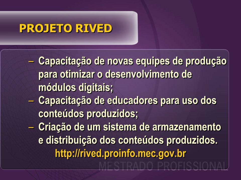PROJETO RIVED – Capacitação de novas equipes de produção para otimizar o desenvolvimento de módulos digitais; – Capacitação de educadores para uso dos conteúdos produzidos; – Criação de um sistema de armazenamento e distribuição dos conteúdos produzidos.