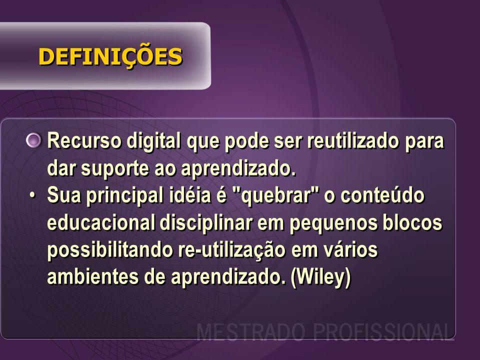 Recurso digital que pode ser reutilizado para dar suporte ao aprendizado.