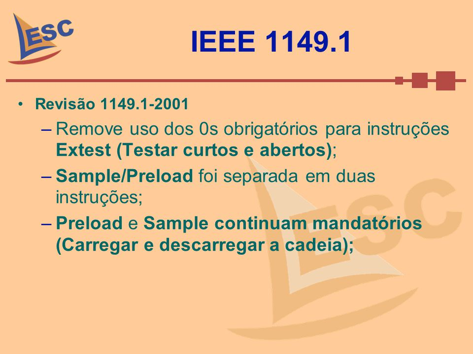 IEEE 1149.1 Revisão 1149.1-2001 –Remove uso dos 0s obrigatórios para instruções Extest (Testar curtos e abertos); –Sample/Preload foi separada em duas