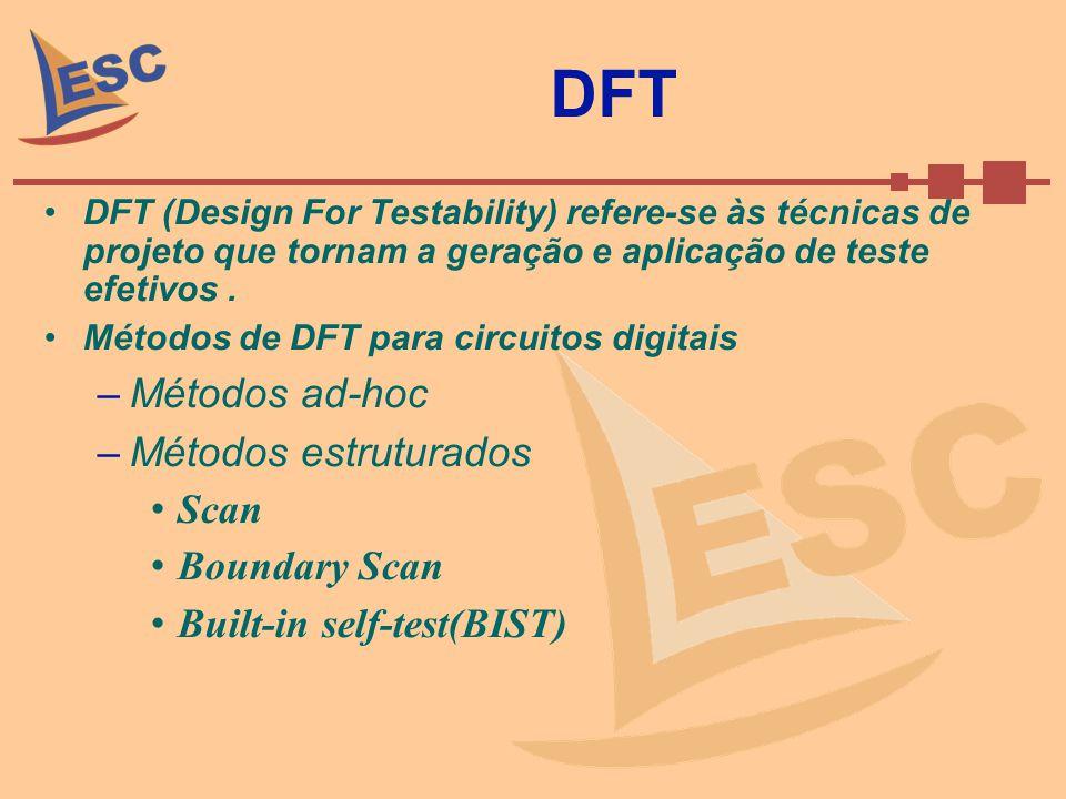 DFT DFT (Design For Testability) refere-se às técnicas de projeto que tornam a geração e aplicação de teste efetivos. Métodos de DFT para circuitos di