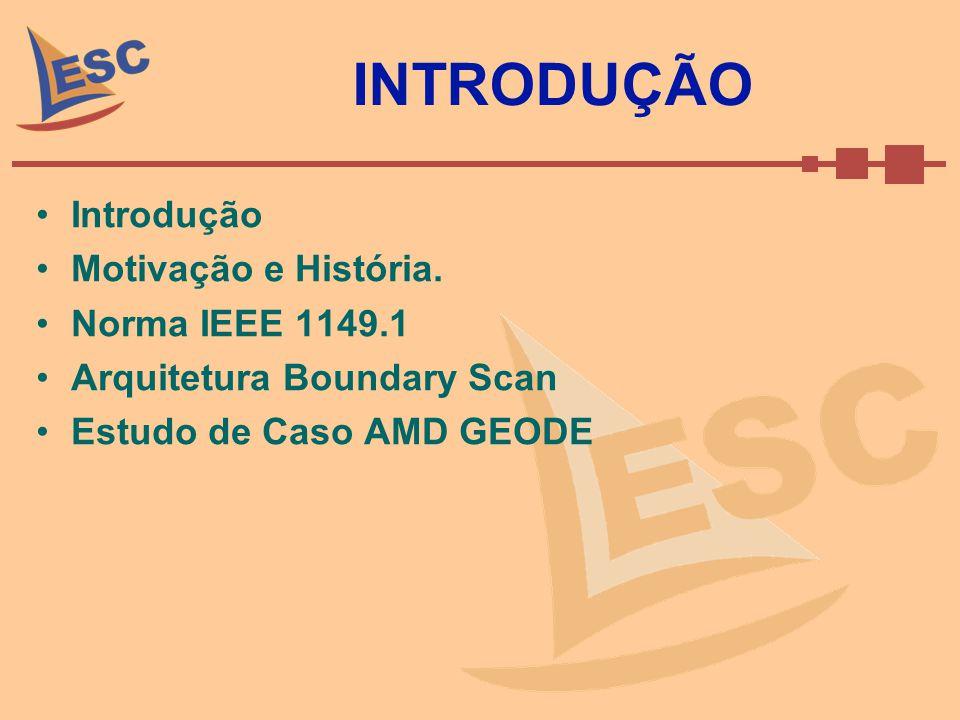 INTRODUÇÃO Introdução Motivação e História. Norma IEEE 1149.1 Arquitetura Boundary Scan Estudo de Caso AMD GEODE