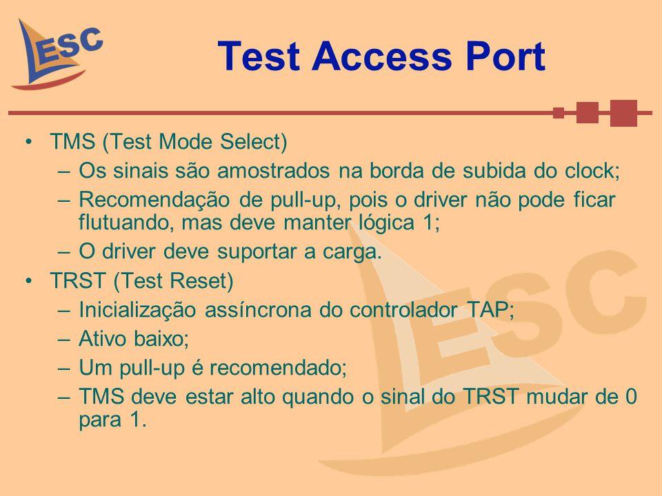 Test Access Port TMS (Test Mode Select) –Os sinais são amostrados na borda de subida do clock; –Recomendação de pull-up, pois o driver não pode ficar