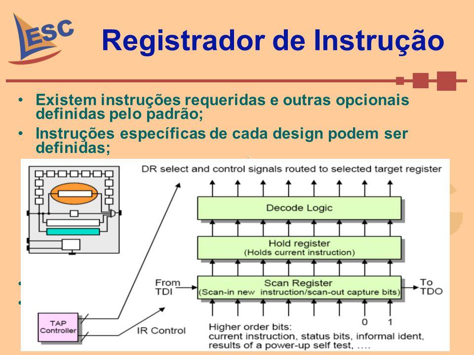 Registrador de Instrução Existem instruções requeridas e outras opcionais definidas pelo padrão; Instruções específicas de cada design podem ser defin