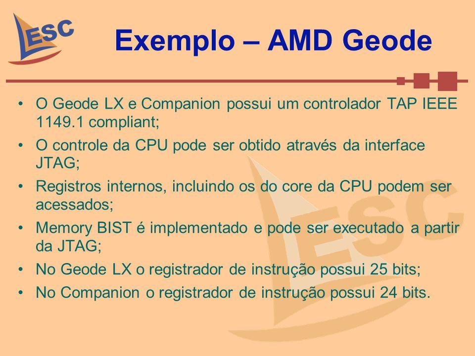 Exemplo – AMD Geode O Geode LX e Companion possui um controlador TAP IEEE 1149.1 compliant; O controle da CPU pode ser obtido através da interface JTA