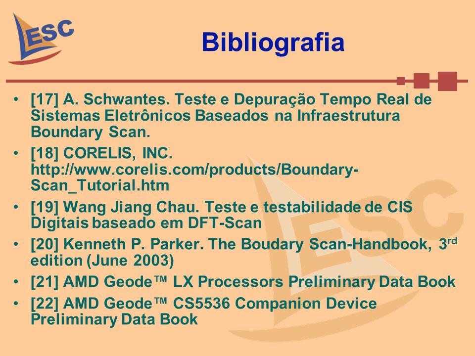 Bibliografia [17] A. Schwantes. Teste e Depuração Tempo Real de Sistemas Eletrônicos Baseados na Infraestrutura Boundary Scan. [18] CORELIS, INC. http