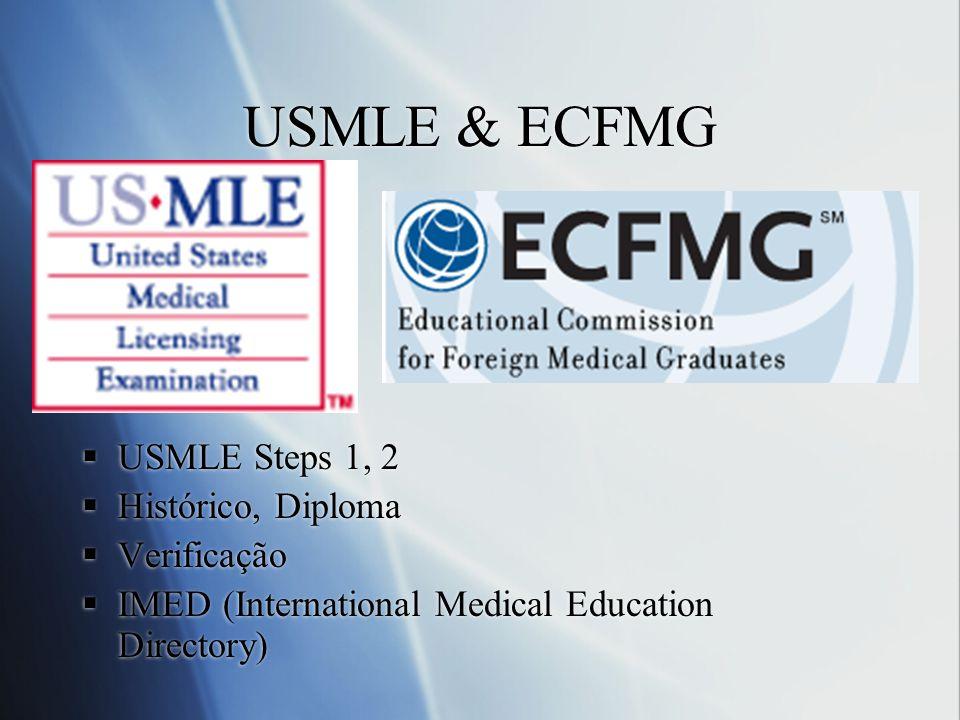 USMLE & ECFMG USMLE Steps 1, 2 Histórico, Diploma Verificação IMED (International Medical Education Directory) USMLE Steps 1, 2 Histórico, Diploma Ver