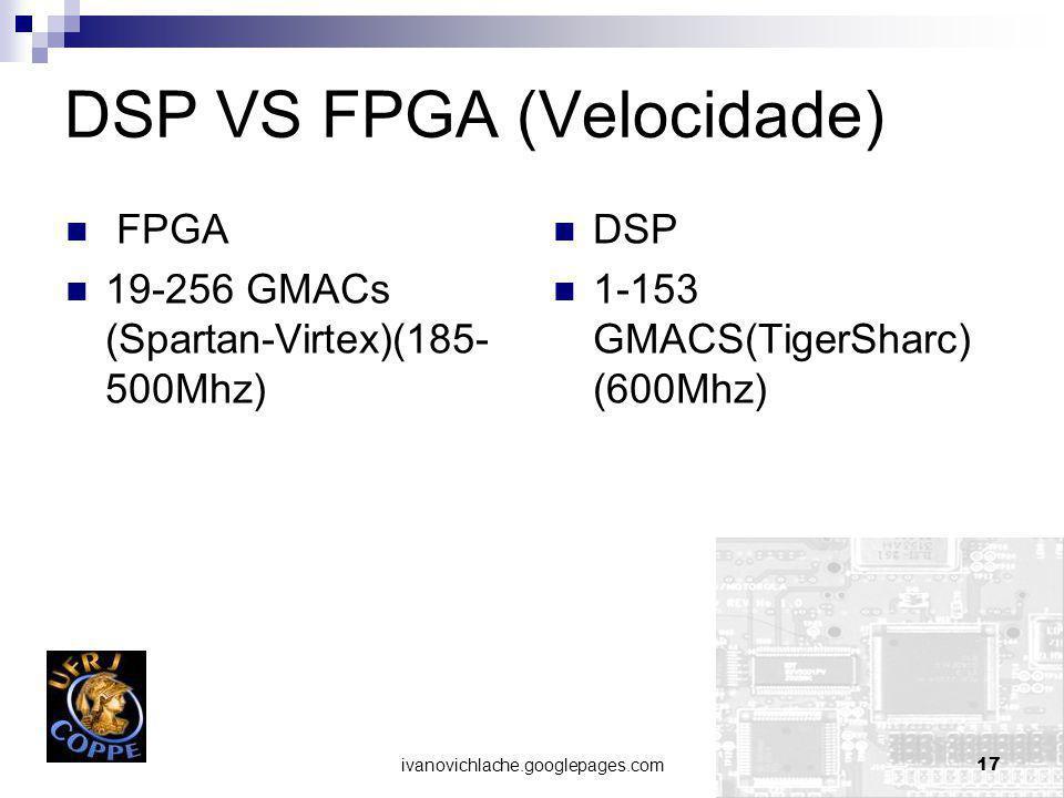 ivanovichlache.googlepages.com17 DSP VS FPGA (Velocidade) FPGA 19-256 GMACs (Spartan-Virtex)(185- 500Mhz) DSP 1-153 GMACS(TigerSharc) (600Mhz)