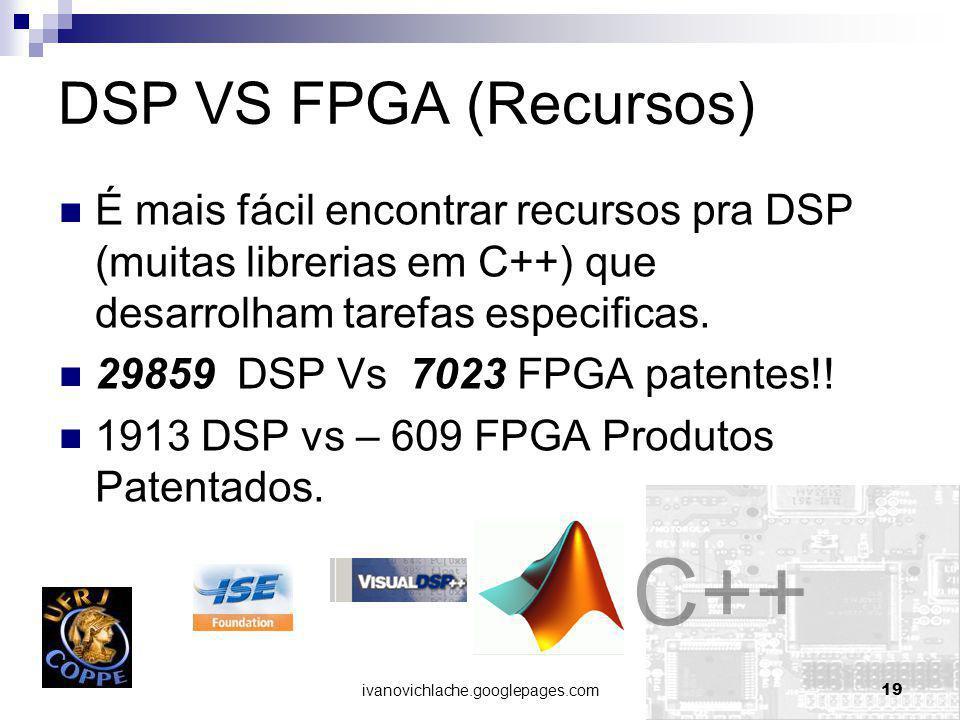 ivanovichlache.googlepages.com19 DSP VS FPGA (Recursos) É mais fácil encontrar recursos pra DSP (muitas librerias em C++) que desarrolham tarefas especificas.