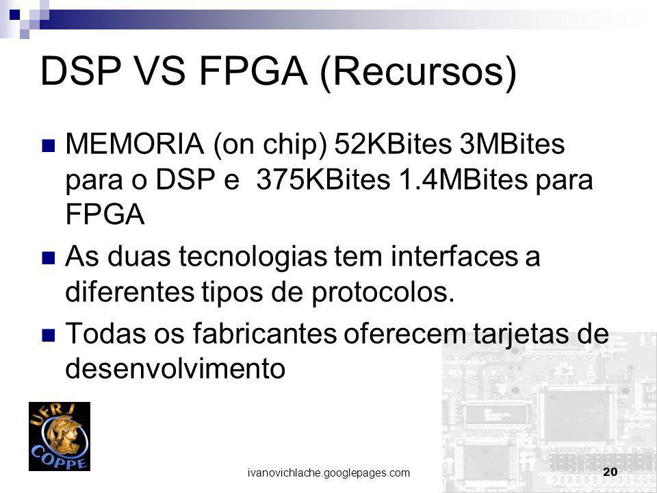 ivanovichlache.googlepages.com20 DSP VS FPGA (Recursos) MEMORIA (on chip) 52KBites 3MBites para o DSP e 375KBites 1.4MBites para FPGA As duas tecnologias tem interfaces a diferentes tipos de protocolos.