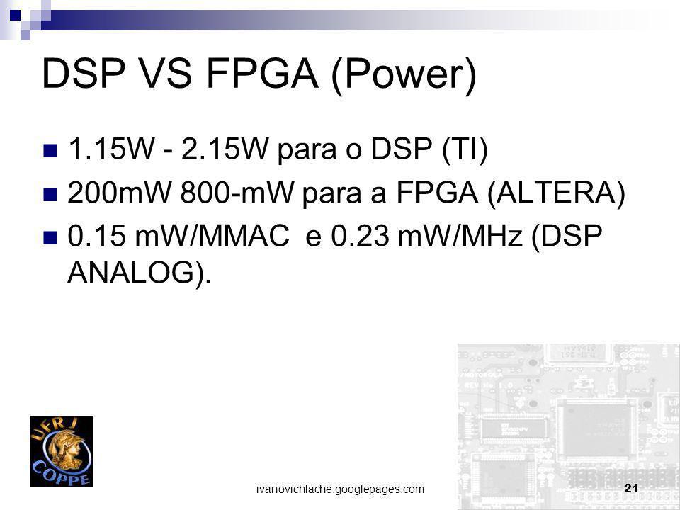 ivanovichlache.googlepages.com21 DSP VS FPGA (Power) 1.15W - 2.15W para o DSP (TI) 200mW 800-mW para a FPGA (ALTERA) 0.15 mW/MMAC e 0.23 mW/MHz (DSP ANALOG).