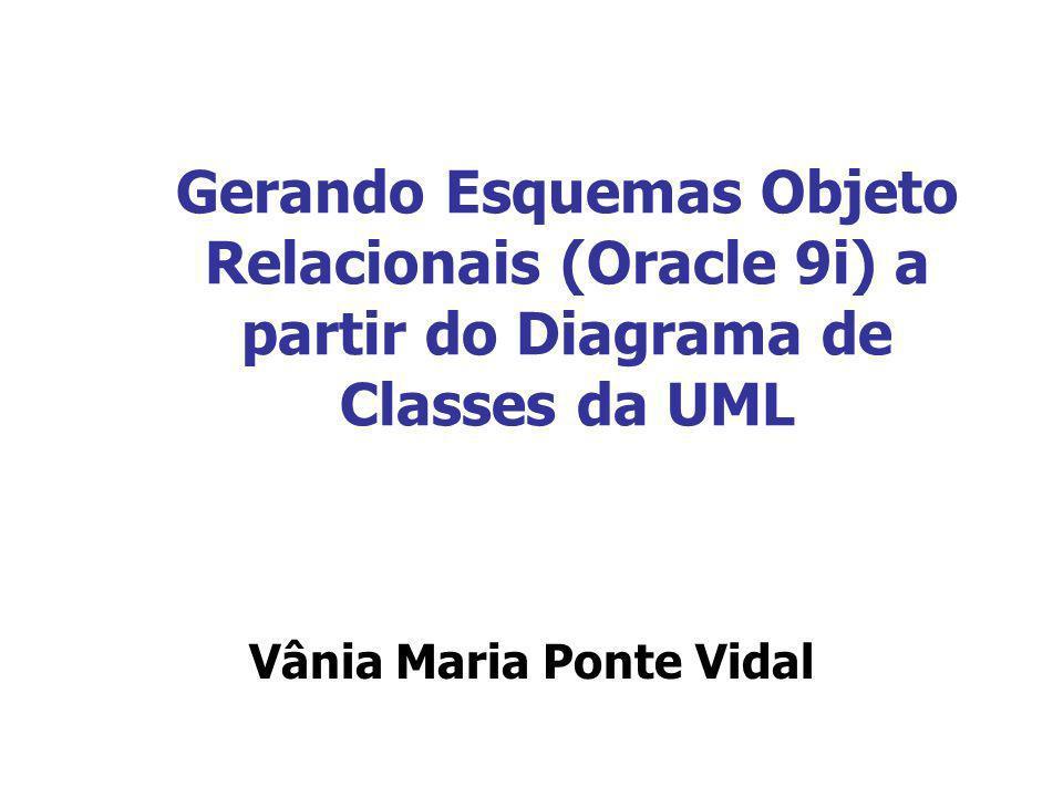 Gerando Esquemas Objeto Relacionais (Oracle 9i) a partir do Diagrama de Classes da UML Vânia Maria Ponte Vidal