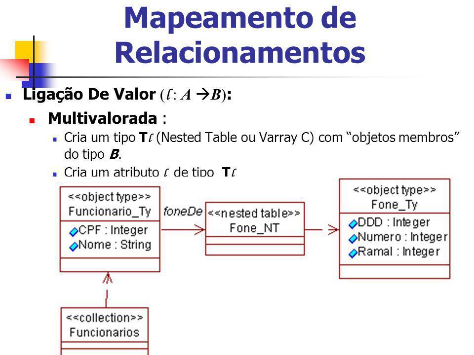 13 Mapeamento de Relacionamentos Ligação De Valor ( l : A B) : Multivalorada : Cria um tipo T l (Nested Table ou Varray C) com objetos membros do tipo