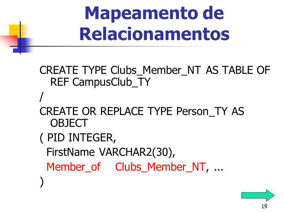 19 Mapeamento de Relacionamentos CREATE TYPE Clubs_Member_NT AS TABLE OF REF CampusClub_TY / CREATE OR REPLACE TYPE Person_TY AS OBJECT ( PID INTEGER, FirstName VARCHAR2(30), Member_of Clubs_Member_NT,...