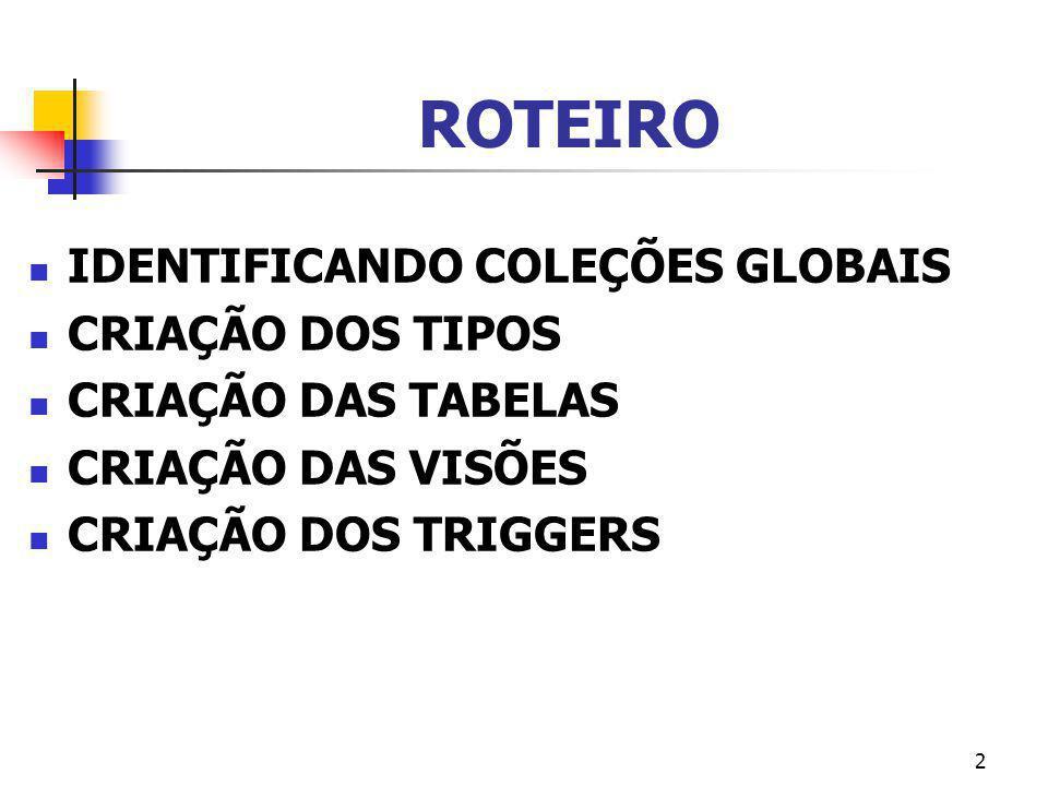 33 CRIAÇÃO DOS TRIGGERS Para cada visão, criar instead of triggers.