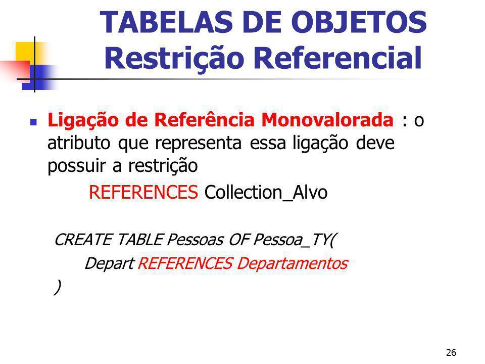 26 TABELAS DE OBJETOS Restrição Referencial Ligação de Referência Monovalorada : o atributo que representa essa ligação deve possuir a restrição REFER