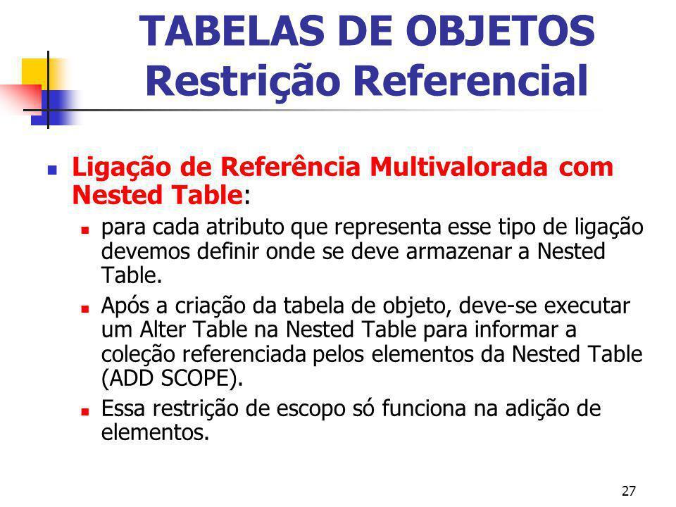 27 TABELAS DE OBJETOS Restrição Referencial Ligação de Referência Multivalorada com Nested Table: para cada atributo que representa esse tipo de ligaç